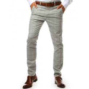 Elegantné svetlo sivé pánske chino nohavice s vzorom kára
