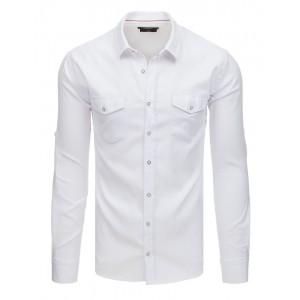 Športovo elegantná pánska košeľa v bielej farbe s prednými vreckami