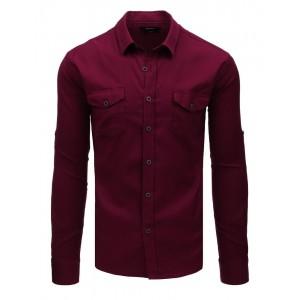 Originálna pánska bordová košeľa s dlhým rukávom a dvoma vreckami