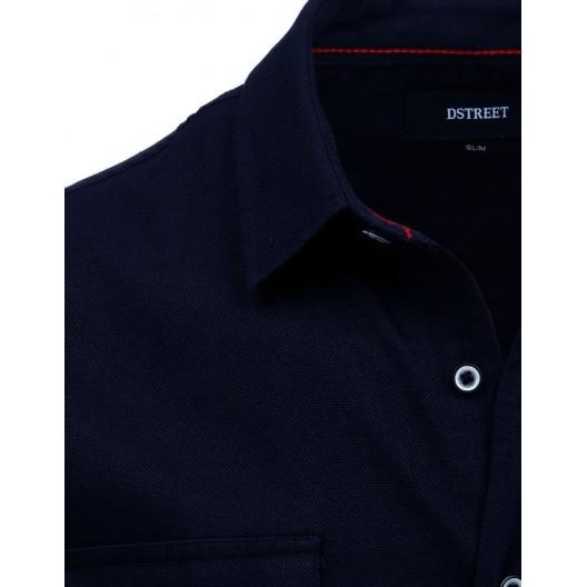 Slim fit pánska moderná tmavo modrá košeľa s dlhým rukávom a vreckami