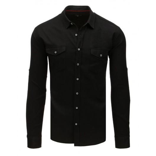 Trendy pánska čierna košeľa na voľný deň slim fit strihu a vreckami