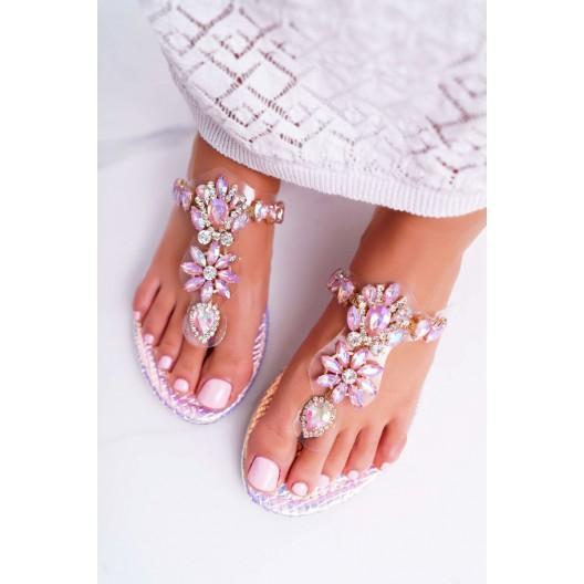 Krásne dámske ružové lesklé šľapky s kryštálmi
