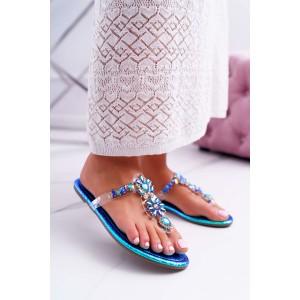 Metalické modré dámske šľapky s modrými lesklými kamienkami