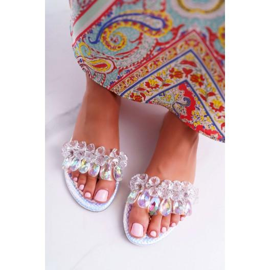 Luxusné dámske šľapky metalicko strieborné s kryštáľmi a zirkónmi