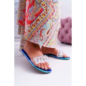 Metalicko modré dámske šľapky s trasparentnou špičkou s kamienkami
