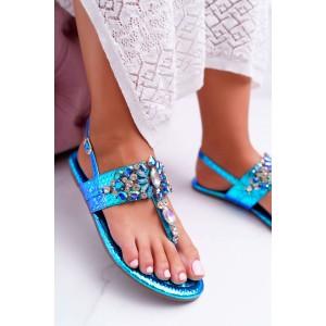 Luxusné dámske metalické sandále v modrej farbe s lesklými kryštálmi