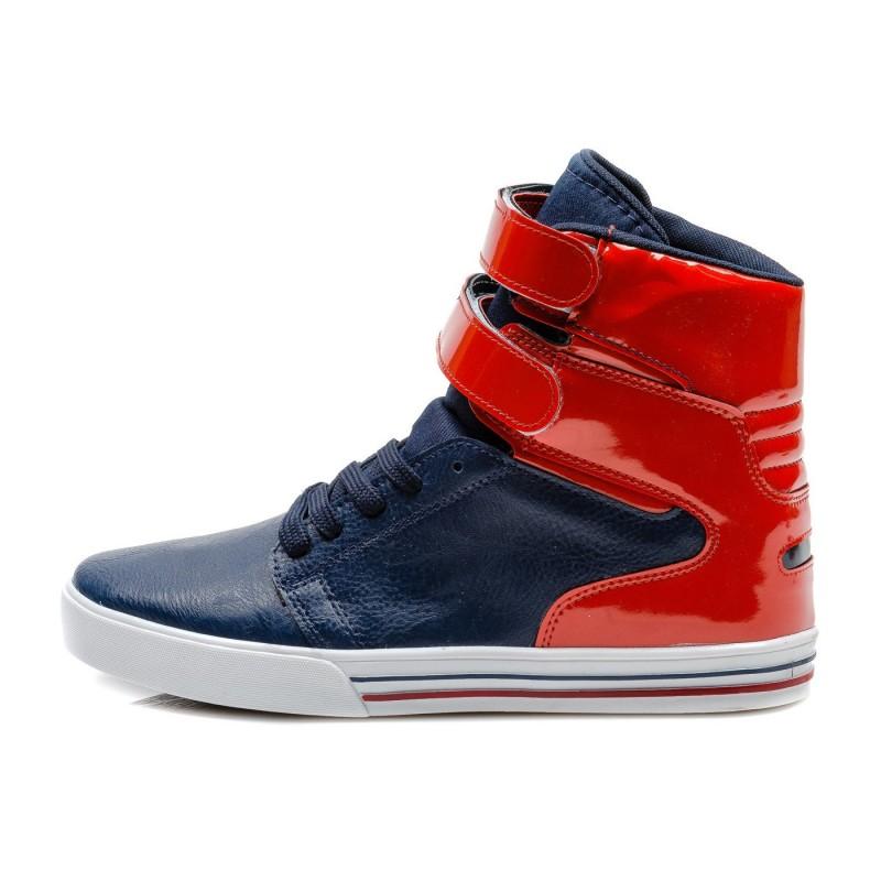 Pánske značkové moderné topánky modrej farby s červeným zapínaním na ... 44d20bc289e