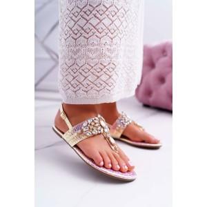 Krásne dámske letné ružové sandále metalické s ozdobnými kryštálmi