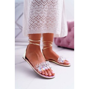 Dámske gladiátorky s viazaním okolo nohy v ružovo metalickej farbe