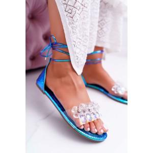 Krásne modro zelené metalické gladiátorky s viazaním okolo nohy