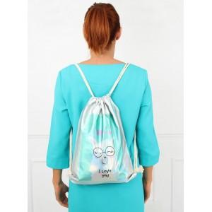 Dievčenský batoh v striebornej farbe I love you