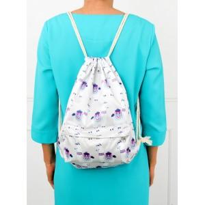 Vzorovaný ruksak na chrbát v bielej farbe