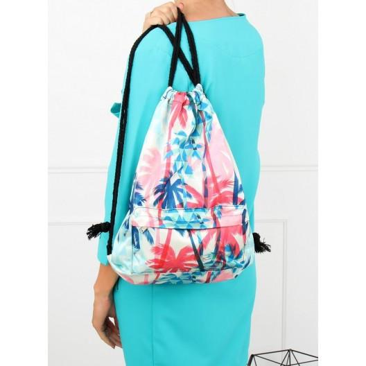 Biely ruksak na chrbát v bielej farbe s farebnými motívmi
