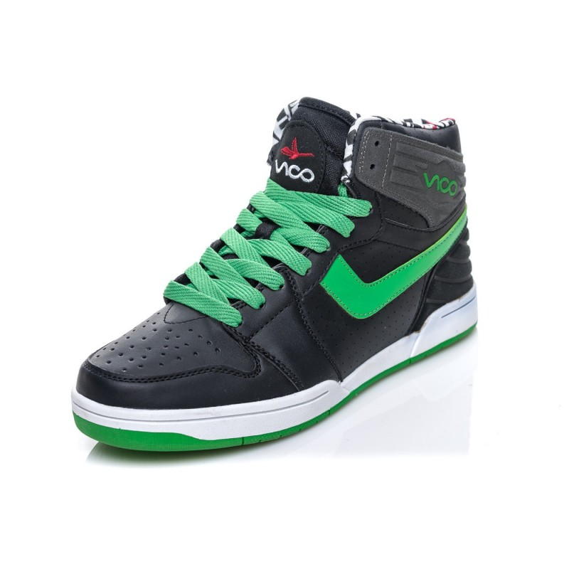 a2acfc5b2f1ff Štýlové pánske tenisky čiernej farby v kombinácii so zelenými ...
