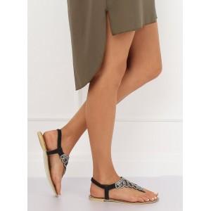 Nízke dámske sandále v čiernej farbe