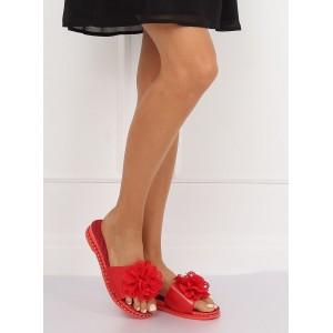 Gumené dámske papuče v červenej farbe