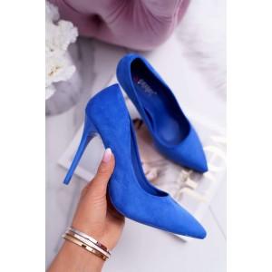 Matné dámske lodičky v modrej farbe