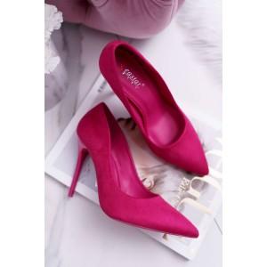 Semišové lodičky v ružovej farbe na vysokom opätku