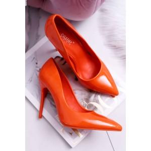 Lesklé dámske lodičky v oranžovej farbe na vysokom opätku