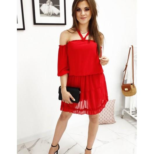 Mierne priesvitné dámske španielske šaty červenej farby