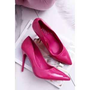 Lesklé vysoké lodičky v ružovej farbe