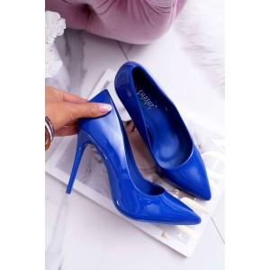 Moderné lodičky na vysokom opätku v modrej farbe
