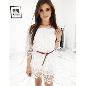 Dámske čipkované šaty na leto v bielej farbe