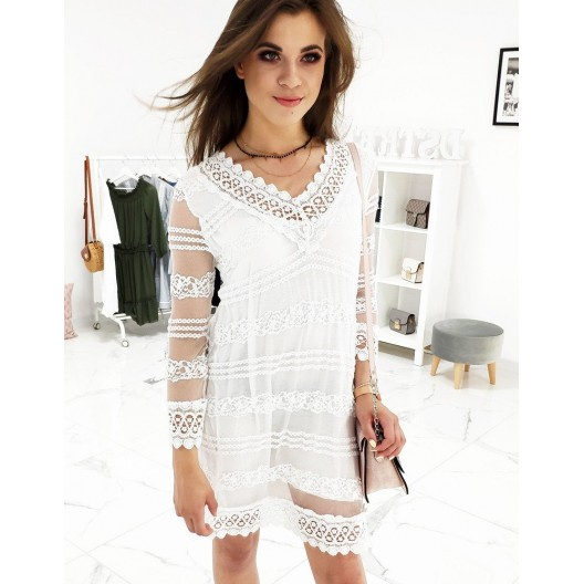 Štýlové letné šaty bielej farby s podšívkou