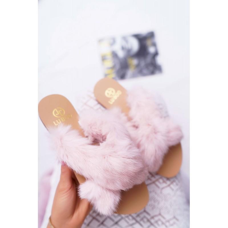 09787fdcf Dámske chlpaté papuče v ružovej farbe