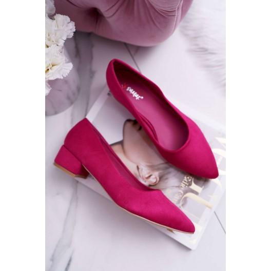 Moderné dámske lodičky na nízkom podpätku v ružovej farbe