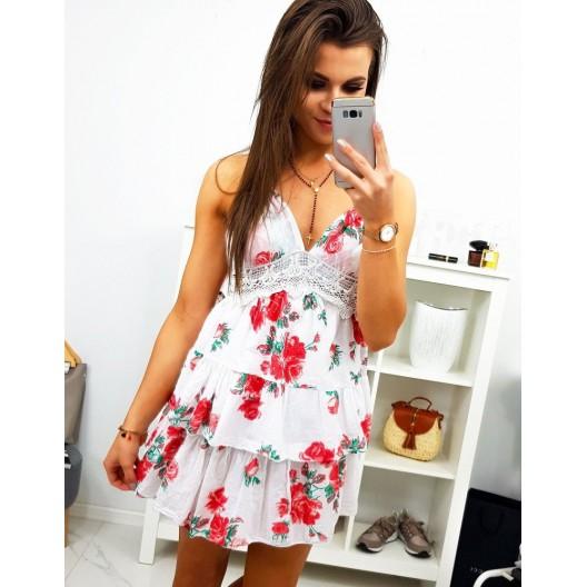 Kvetováné šaty bielej farby na ramienkach