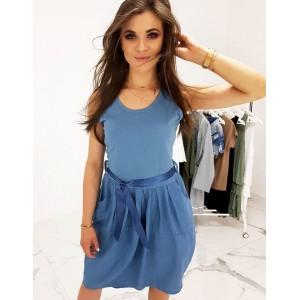 Modré dámske šaty na leto voľného a predľženého strihu s vreckami