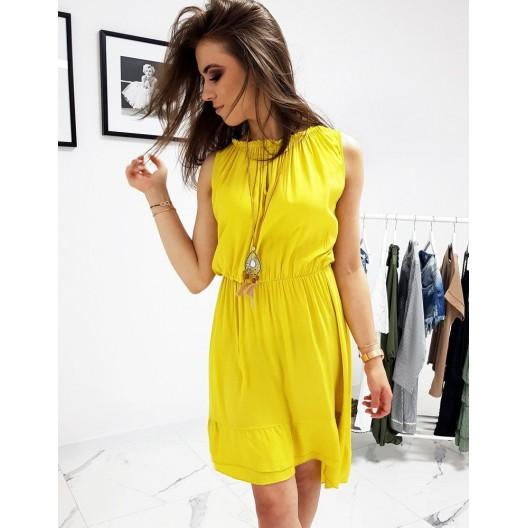 Letné dámske šaty žltej farby s nariaseným okruhlym výstrihom