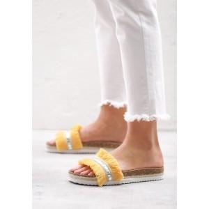 Moderné dámske šľapky v žltej farbe