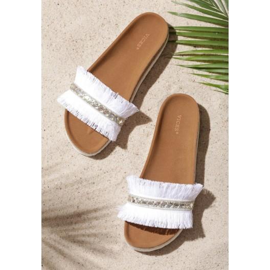 Letné dámske šľapky so strapcami v bielej farbe