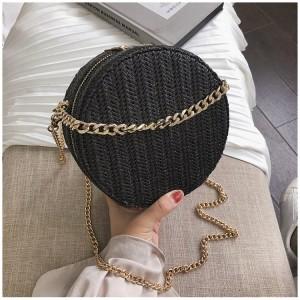 Dámska čierna kabelka zo slamy v čiernej farbe