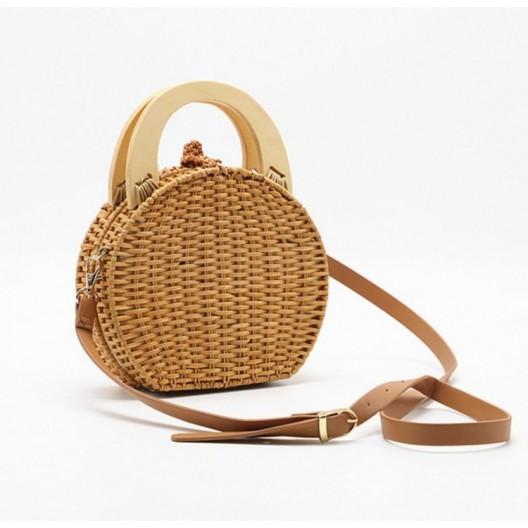 Pletená kabelka na plece v béžovej farbe