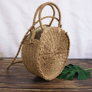 Dámska letná kabelka pletená v béžovej farbe