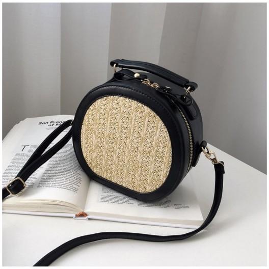 Dámska pletená kabelka v čiernej farbe na rameno