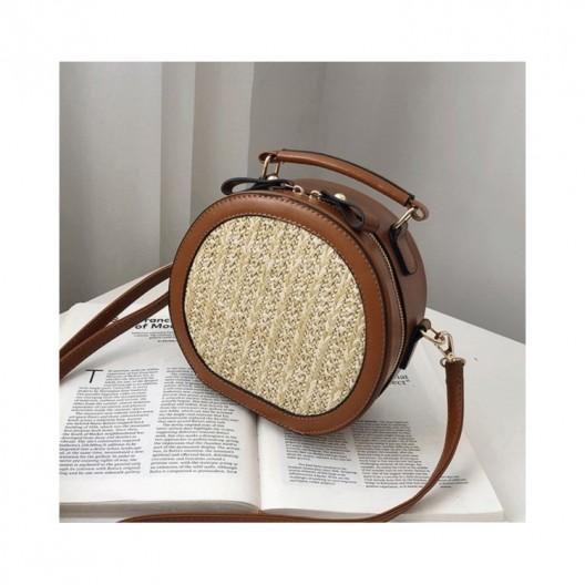 Pletená kabelka na rameno v hnedej farbe