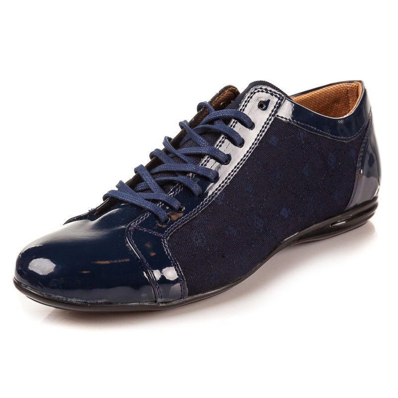 Elegantné pánske lakované topánky modrej farby s džínsovým vzorom ... 88ff5953e76