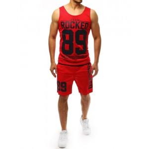 Letná pánska športová súprava v červenej farbe s potlačou