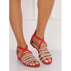 Dámske sandále s kamienkami v červenej farbe