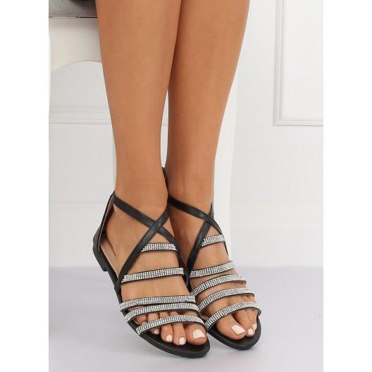 Čierne dámske kamienkové sandale