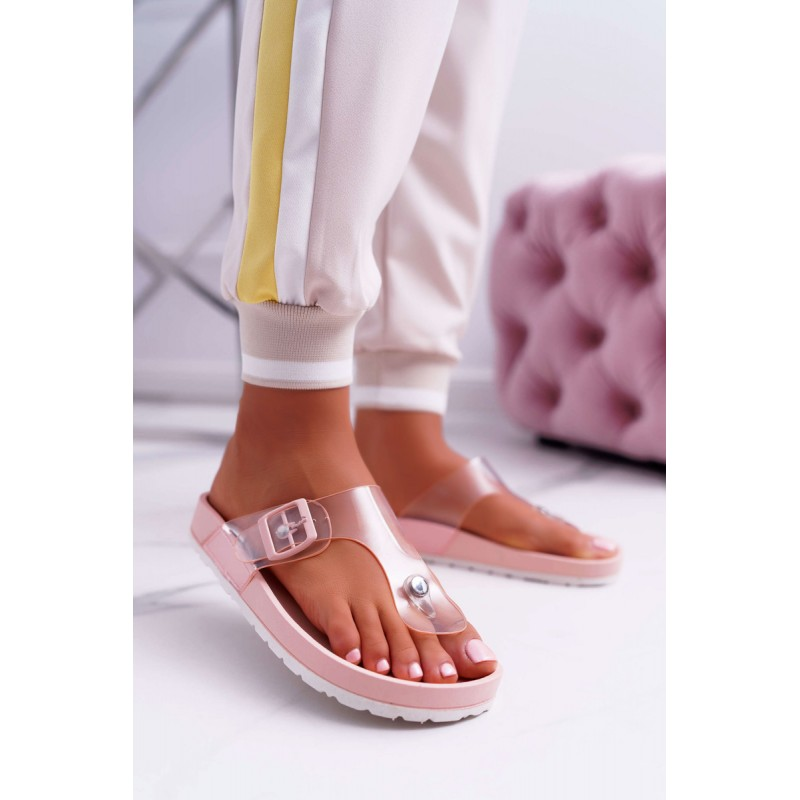 f1aa81915c228 Trendy púdrovo ružové dámske gumené šľapky na pláž