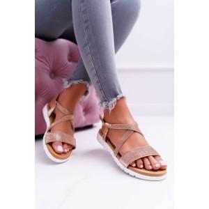 Dámske ružovo zlaté sandále s kamienkami na nízkej podrážke
