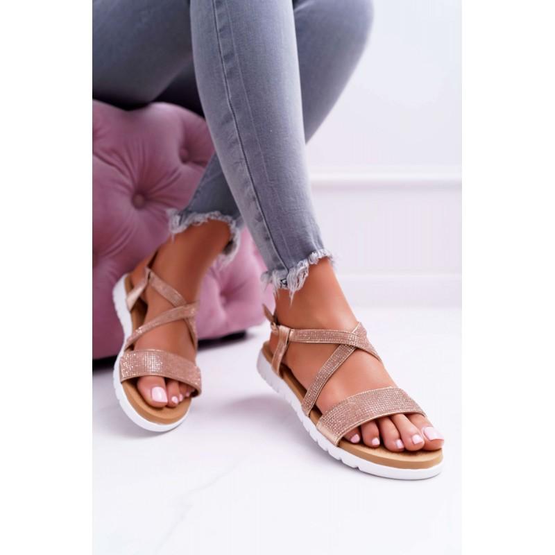 cc258f0d8d50c Dámske ružovo zlaté sandále s kamienkami na nízkej podrážke