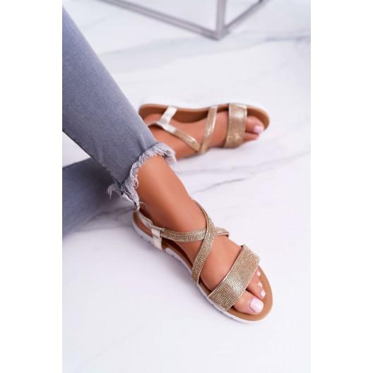 Trblietavé zlaté dámske nízke sandále so zirkónmi na nízkej podrážke