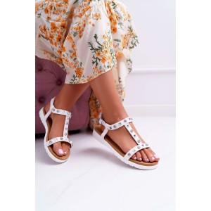 Originálne dámske biele sandále s vybíjancami a zirkónmi