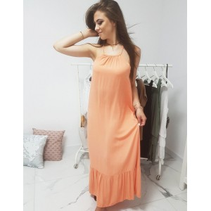 Dámske letné voľné maxi šaty v marhuľovej farbe